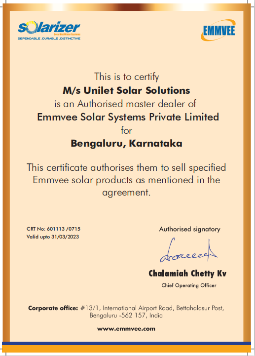 Solarizer Dealer Certificate